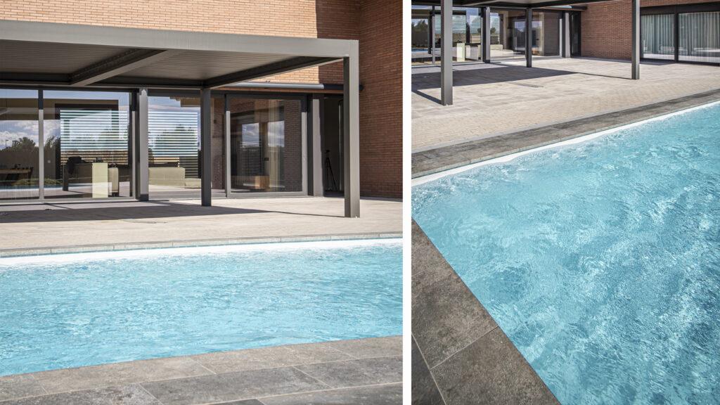 Losas de hormigón en la piscina exterior